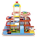 Wooden Toy Garage with cars, lift, ramps, car wash and petrol pumps