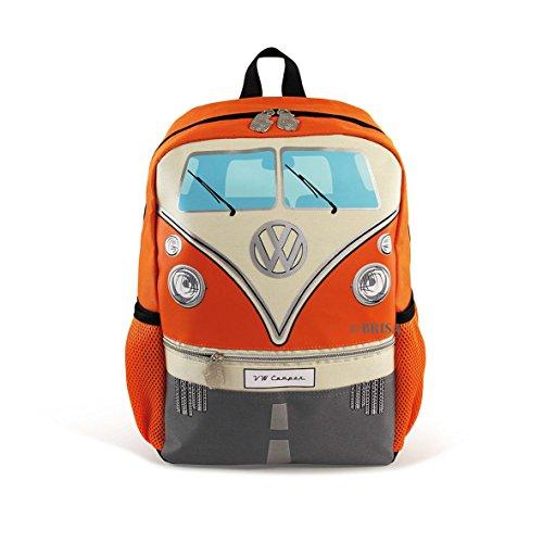 Preisvergleich Produktbild BRISA VW Collection - Stylisher & lässiger Volkswagen Kinder-Rucksack,  Tages-Wander-Rucksack VW T1 Bulli Bus Front (15l / Klein / Orange)