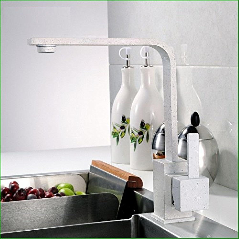 MEIBATH Wasserhahn Küche Mischbatterie Spülbecken Armatur Küchenarmatur Spültischarmatur Messing Warmes und kaltes Wasser Granit drehbar Wei Wasserhahn