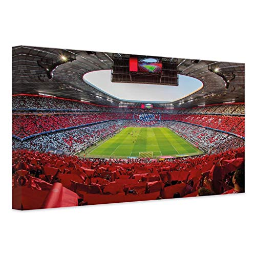 Leinwandbild FCB Stadion Rot Weiß Bayern München Fußball Bundesliga Sport Allianz Arena Verein Mannschaft mit Wandhalterung Wall-Art - 60x40 cm