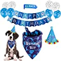 TCBOYING Dog Birthday Bandana, Dog Birthday Boy Hat Scarf Balloon Flag with Lovely Dog Birthday Party Decorations(11-Piece Set)