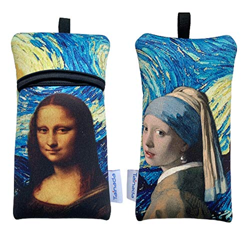 Tainada Shockproof Phone Neoprene Sleeve Carry Bag Pouch with Neck Lanyard & Carabiner for iPhone 11/12 Pro Max, Samsung S20+, A71, Google Pixel 4a 5G, Moto G8 Power (Famous Paintings Combo) -  KZ-02