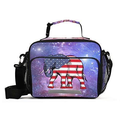 JUMBEAR Starry Sky USA Flag Galaxy Bolsa de almuerzo aislada impermeable reutilizable con correa de hombro desmontable, con cremallera para la escuela, oficina, viajes, picnic