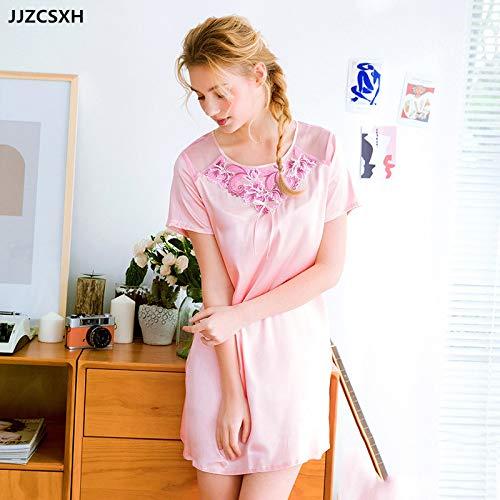 JJZCSXH Summer Nightwear Nachthemd O-Ausschnitt Schleife Kurzarm Saum Nachthemd Soft Home Nachtwäsche Sleepshirt,T02 Rubber red,XL