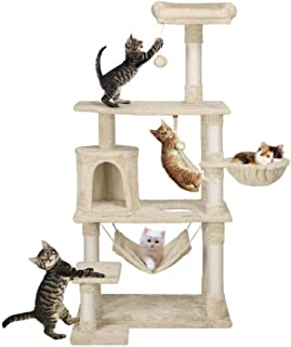 Yaheetech 62in Extra Large Cat Tree Condo with Sisal-Covered Scratching Post Plush Perch Hammock, Cat Tower Activity Center Kitten Furniture Play House