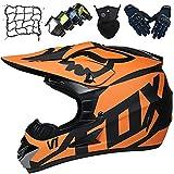 Casco Moto Niños, Conjunto de Casco de Motocross para Jóvenes y Adultos, Casco Integral Unisex para Motocicleta Dirt Bike MX Downhill MTB Racing - con Diseño Fox - Naranja