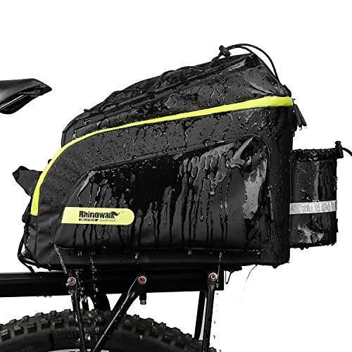 Rhinowalk Bike Bag Bike Trunk Bag Bike Pannier Bag 17L,(for Bicycle Cargo Rack Saddle Bag Shoulder Bag Laptop Pannier Rack Bicycle Bag Professional Cycling Accessories)-Green&Black