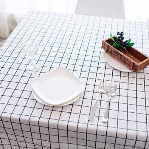 EDCV Woondecoratie Textiel Tafelkleed Linnen Landelijk Vierkante Tafelkleden Rechthoekige Eettafel Cover Salontafel Thee, witte plaid