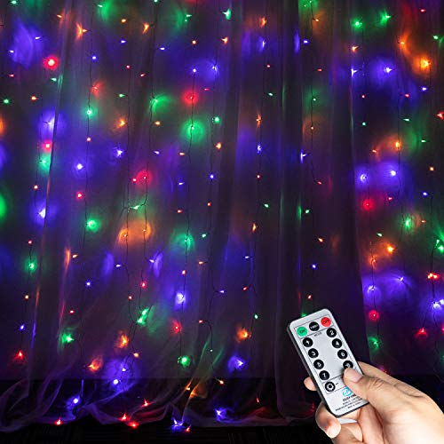 Brightown 9.8 Ft Curtain String Lights Icicle Lights with Remote & Timer, 300-LED Fairy Twinkle String Lights with 8 Modes Fits for Bedroom Wedding Party Backdrop Outdoor Indoor Decoration, Multicolor