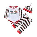 cover Neugeborenen Babykleidung Set Baby Strampler mit Mein erstes Weihnachten Spruch Streifen Hosen Mütze für Jungen Mädchen