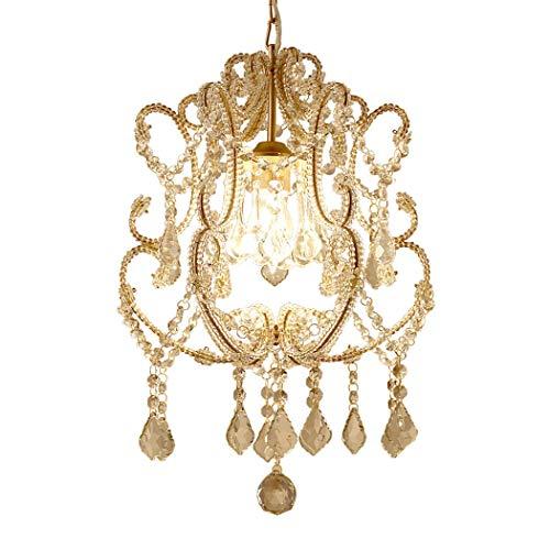 Kristallleuchter Beleuchtung 1-Licht Antik Bronze Finish Mini Anhänger Kronleuchter Schmiedeeisen Deckenleuchte, Champagner Gold