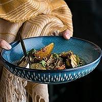 S-TING ボウル おしゃれ食器 8インチボウルセラミックス浅い口ボウルミキシングボウルサラダボウル大世帯ヨーロッパのレトロ食器 ins キッチン用具 プレゼント ギフト
