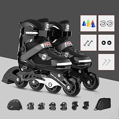 Inliner Rollen,verstellbare Inline-Skates mit beleuchteten Rädern, Kohlenstoff inliner mit Einstellbarer Größe Inliner Damen Inline Skates S=27~31, M=31~35, L=35~40