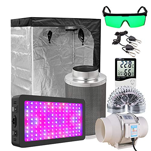 Grow Tent Full Kit Grow Light Lamps Set 4/5/6/8 Inch Centrifugal Fans Activated Carbon Air Filter for Plant,300x300x200CM Set