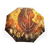 LASINSU 3-Pliable Parapluie Gamme Anti-UV Ombrelle,Ancienne Reine égyptienne Femmes sous Pyramide Pictogramme sur Paillettes Bling doré,Compact Parapluie
