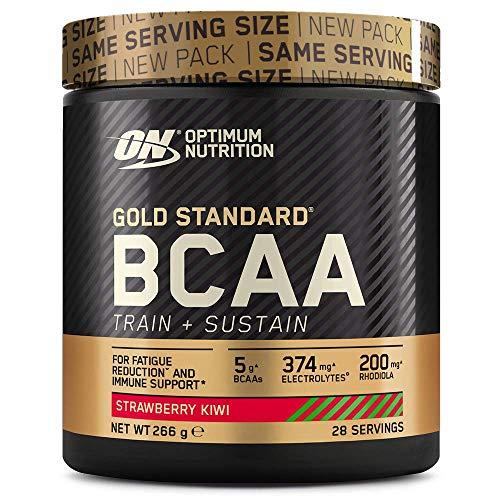 Optimum Nutrition ON Gold Standard BCAA Polvo, Suplementos Deportivos con Aminoacidos, Vitamina C, Zinc, Magnesio y Electrolitos, Fresa y Kiwi, 28 Porciones, 266g, Embalaje Puede Variar