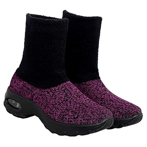 Happyyami Platform Boots Ankle High Air Cushioned Sneakers Slip On Winter Shoes Snow Booties for Women Purple