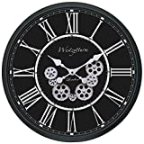 Westzytturm 23 inch Wall Clock Battery Operated with Gears Moving Quartz Gear Wall Clocks Large Decorative Modern Round Wall Clock for Living Room Kitchen Dining Office Home Decor (Black 23 inch)