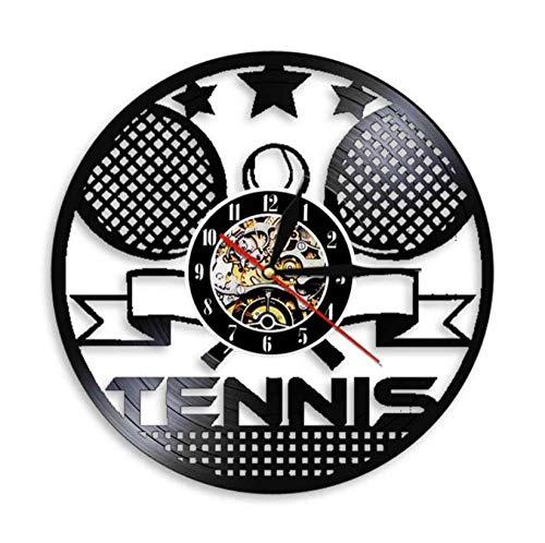 Liushenmeng Reloj Disco de Vinilo Raqueta de Tenis Reloj De Pared Vintage Accesorios De Decoración Reloj De Vinilo Colgante Reloj De Pared Reloj Único Idea de Regalo diámetro 30 cm