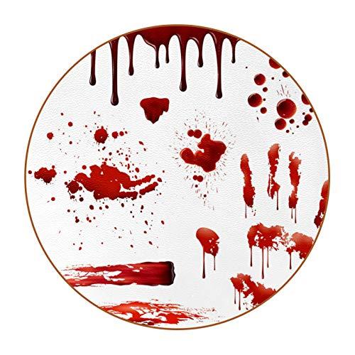 Posavasos redondo de cuero de fibra súper para el hogar, cocina, oficina, salpicaduras de sangre, patrones realistas