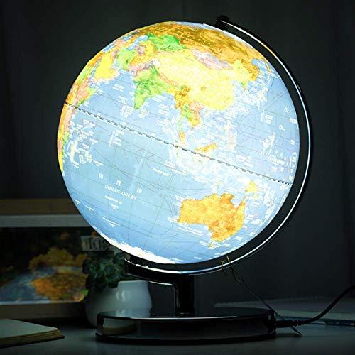 Mnjin erforschen Sie die Welt 32cm Relief beleuchteter Globus LED-Beleuchtung Tag und Nacht - Physikalisch/Politisch Dual Mapping - Einzigartiges Prägungsdesign, künstlerisch, lehrreich un
