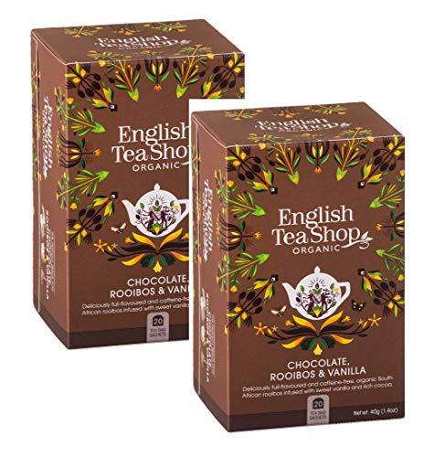 English Tea Shop Rooibos Bio-Tee mit Schokolade und Vanille natürlich ohne Koffein Prämierte Tee-Sammlung Hand ausgewählt von Sri Lanka - 2 x 20 Beutel (80 Gram)