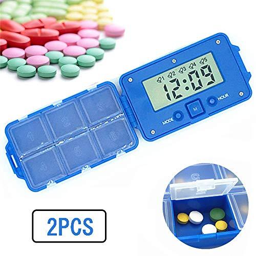 Intelligente elektronische pillendoos, alarmpillendoos met 6 compartimenten en afzonderlijke meerdere alarmen Vitamine opbergdoos Speciaal groot scherm voor ouderen (2 stuks)