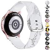 Vobafe Compatible con Samsung Galaxy Watch Active 40mm Correa/Active 2 Correa, 20mm Correas de Repuesto de Silicona para Galaxy Watch 3 41mm/Gear S2 Classic/Gear Sport Smart Watch, White Marble