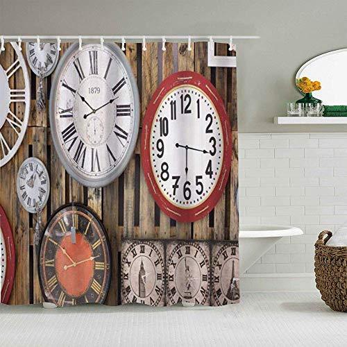 Duschvorhang Antike Uhren an der Wand Instrumente der Zeit Vintage wasserdichte Badvorhänge Haken enthalten - Badezimmer dekorative Ideen Polyester Stoff Zubehör