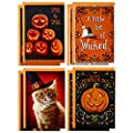 Hallmark Halloween Cards Assortment, Wicked Cat and Pumpkins (8 Cards with Envelopes)