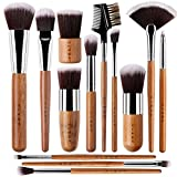 13 Bamboo Makeup Brushes Professional Set - Vegan & Cruelty Free - Foundation, Blending, Blush, Powder Kabuki Brushes.