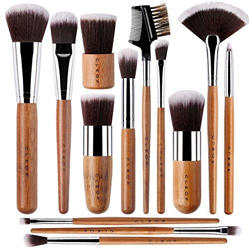 13 Bamboo Makeup Brushes Professional Set – Vegan & Cruelty Free – Foundation, Blending, Blush, Powder Kabuki Brushes.