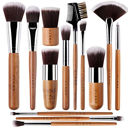 13 Bamboo Makeup Brushes Professional Set - Vegan & Cruelty Free - Foundation, Blending, Blush,...