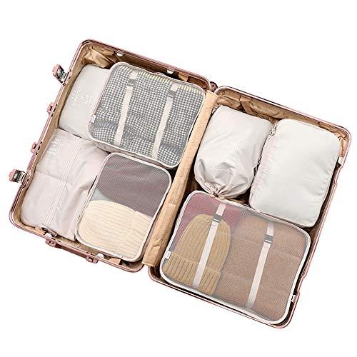 Verpackung Cubes Mesh Reisegepäck-Organisatoren 7pcs für Koffer-Rucksack PCB-015,Beige
