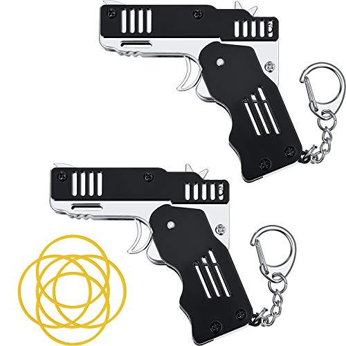 2 Paquetes de Juguete de Pistola de Banda de Goma Mini Pistola de Goma Plegable de Metal Juguete de Lanzador de Goma con Llavero para Juego de Disparos Actividades al Aire Libre