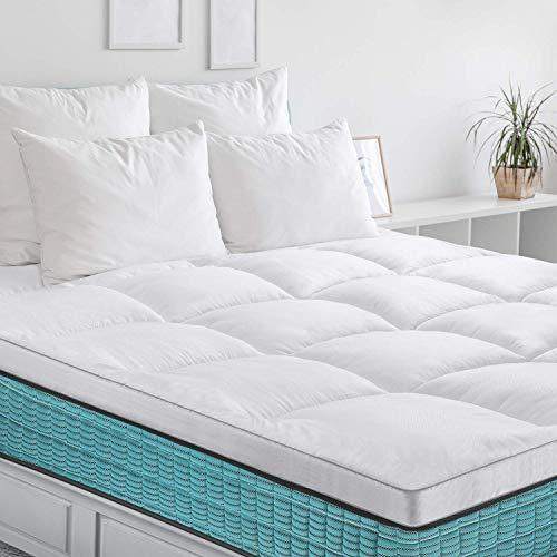 BedStory Colchón Topper 140x190 cm, Funda de colchón de microfibra hipoalergénica 7D, Protector de colchón transpirable, suave y antiácaros para dormir con comodidad