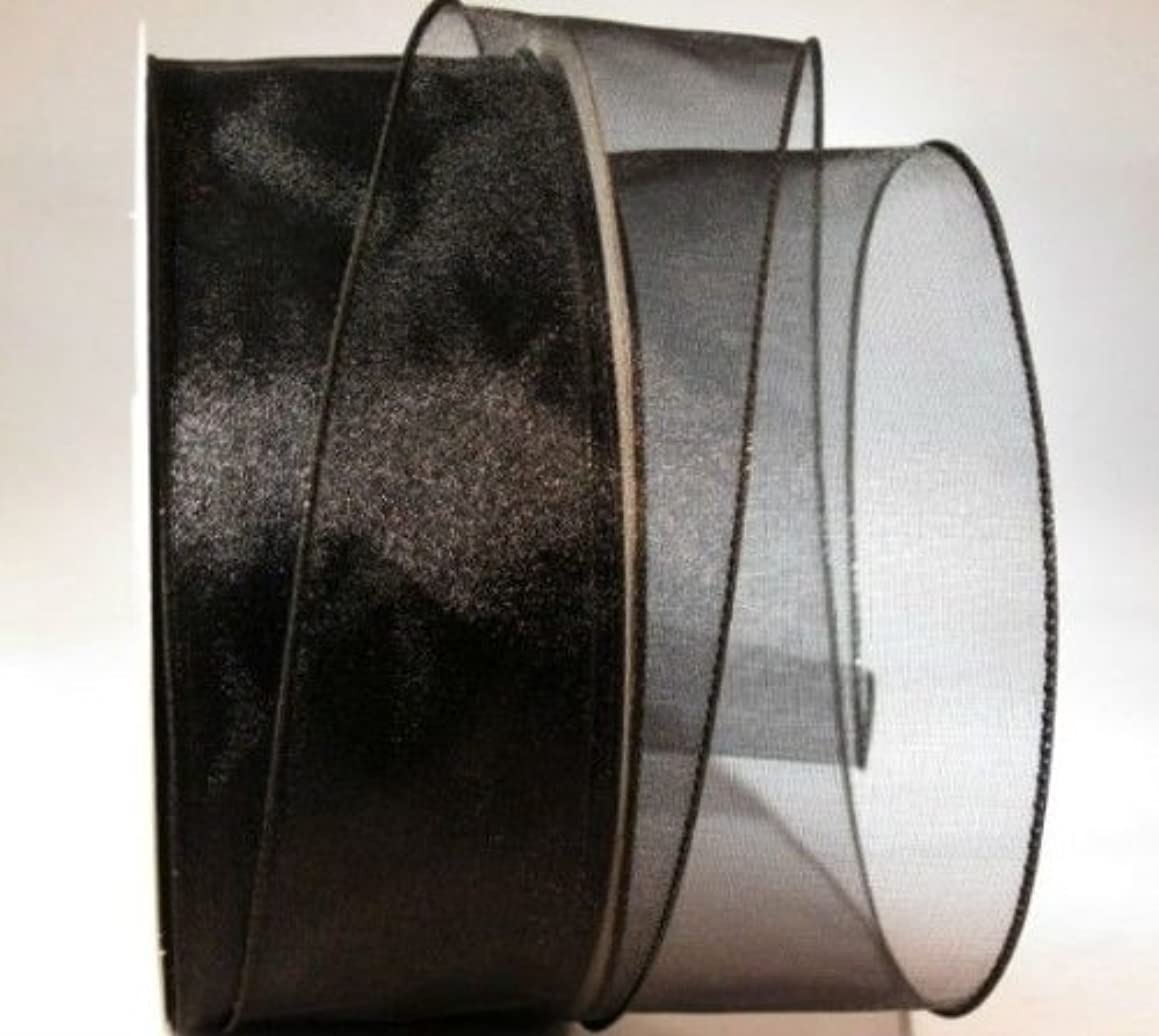 Reliant Ribbon Sheer Lovely Value Wired Edge Fabric Ribbon, 2-1/2 Inch X 50 Yards, Black