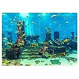 BLOUR Fondo de Acuario de Coral de PVC, Cartel Submarino, decoración de Pared de Peces, Pegatina,Fondo de Tanque de Peces demar Fresco Azul