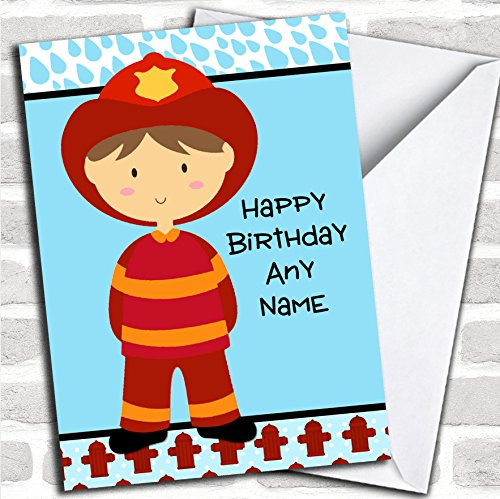Brandweerman verjaardagskaart met envelop, volledig gepersonaliseerd, snel en gratis verzonden
