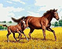DIY絵 デジタル 油絵 数字キット ギフ家の壁アート落書き装飾 40x50センチ フレームレス2頭の馬