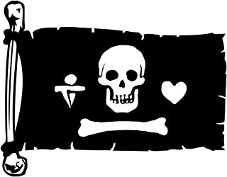 Auto Vynamics - FLAG-PIRATE12-10-MBLA - Vinyl Tattered Jolly Roger Pirate Flag - Stede Bonnet Design - 2-Color Matte Black/Matte White Decal - (1) Piece Kit - 10-by-7.75-inches