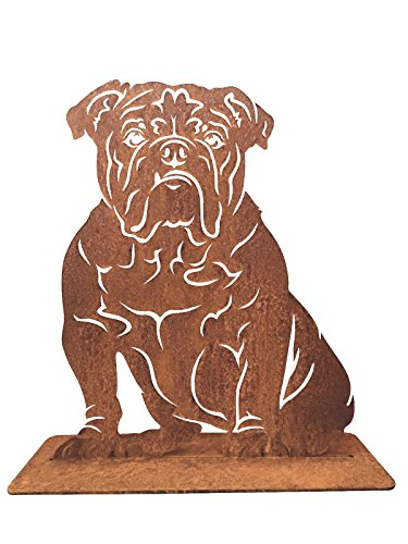 Terma Stahldesign Rostfigur, Edelrost Gartenfigur, englisch Bulldogge, Hund 60 cm