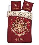 Familando Wende Bettwäsche-Set Harry Potter 135 x 200 cm 80 x 80 cm, 100% Baumwolle, Linon, Hogwarts Wappen, deutsche Standartgröße