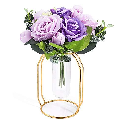 ANZOME Artificial Silk Rose Arrangement Fake Purple Brazil Roses Bouquet in Gold Vase Set Realistic Faux Flowers for Dorm Office Home Wedding Party Decor Table Centerpieces