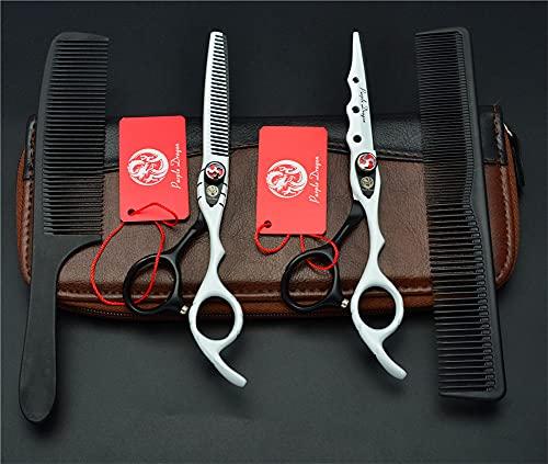 STST Juego de Tijeras de peluquería, Tijeras de Corte de Acero Inoxidable de 6,0 Pulgadas y Tijeras para Adelgazar el Cabello, Herramienta de peluquería para barberos,Blanco
