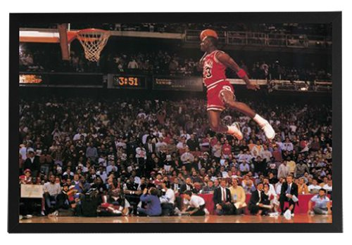 Michael Jordan - Dunking Framed Poster Print 36x24 on a Black Wood Frame. Made in USA.