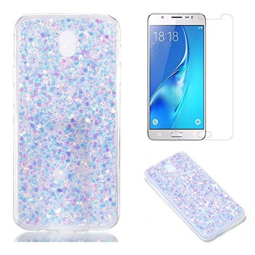 Pour Coque Samsung Galaxy J5 2017 J530 Silicone Souple Étui avec Écran Protecteur, OYIME [Paillette Brillante Violet] Housse Glitter Luxe Ultra Fine Transparent Couverture Anti-Scratch Flexible
