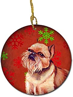 Caroline's Treasures LH9314-CO1 Brussels Griffon Red Snowflake Holiday Christmas Ceramic Ornament, Multicolor