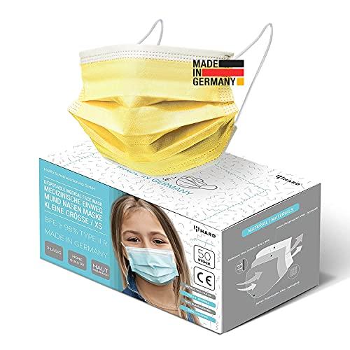 HARD 50x Kinder Medizinischer Mundschutz, Made in Germany, TYP IIR OP-Maske, CE zertifiziert EN14683 99,78% BFE 3-lagig, schützende Mund-Nasen-Bedeckung, Einweg-Gesichtsmasken - Gelb