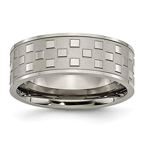 ICE CARATS Titanium Checkered 8mm Wedding Ring Band Size 12.00 Fancy Fashion Jewellery for Women Gifts for Her